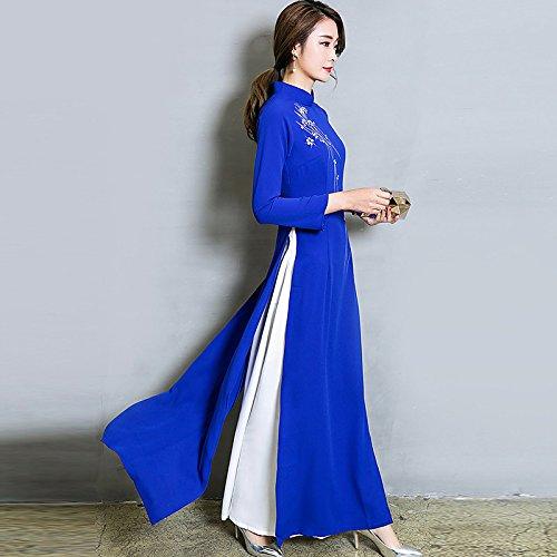kekafu Frauen gehen einfach Spitze Kleid, solide runden Ausschnitt Oben Knie Langarm Baumwolle Frühling Herbst Mittelhohes Micro-elastischen Opak, S, Rot