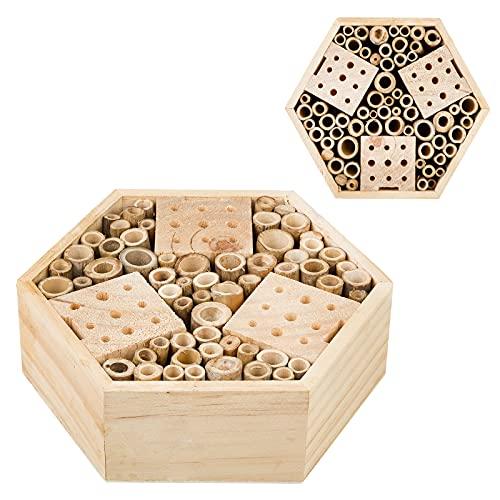 Smart Planet Insektenhotel Hexagon - Nistplatz für alle Jahreszeiten - Bienenstock im eigenen Garten - Insektenhaus zum selber züchten Outdoor
