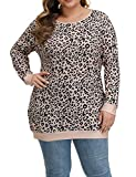 Allegrace Women's Plus Size Tunic Tops Soft Lightweight Knit Long Sleeve Shirts Leopard Print Loose Tunics P101-Leopard Print Yellow & Black 14W