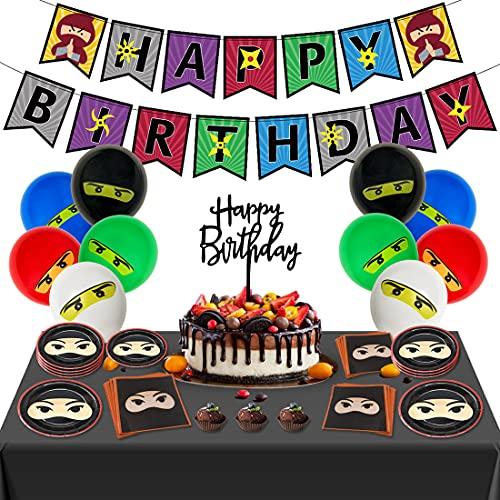 Juego de suministros de decoración de fiesta de cumpleaños ninja y el tema de anime para niños adolescentes con globos de cumpleaños, decoración de cupcakes y pancarta de cumpleaños feliz