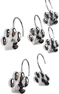 ZILucky 12pcs Set Cat Paw Print Decorative Shower Curtain Hooks Rust Proof Rings Hangers Home Bathroom Decorative Polished Chrome for Room Decor