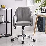 Grau Samt Ergonomisch Bürostuhl Schreibtischstuhl Computerstuhl Arbeitsstuhl Drehstuhl mit Armen Neigungsfunktion Verstellbare Höhe für das Home Office