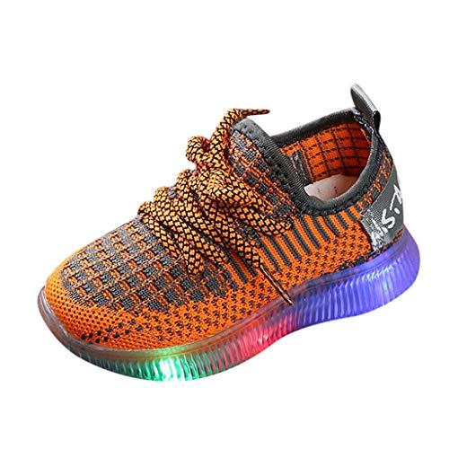catmoew (15M-6J Kinder LED Sneaker Frühling Herbst Jungen Mädchen Glühen Leichte Schuhe Weicher Boden Atmungsaktiv Draußen Freizeit Mesh Leuchtende Turnschuhe