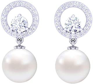 5e4958cfa Clara 92.5 Sterling Silver Swiss Zirconia Pearl Earrings Gift for Women and  Girls