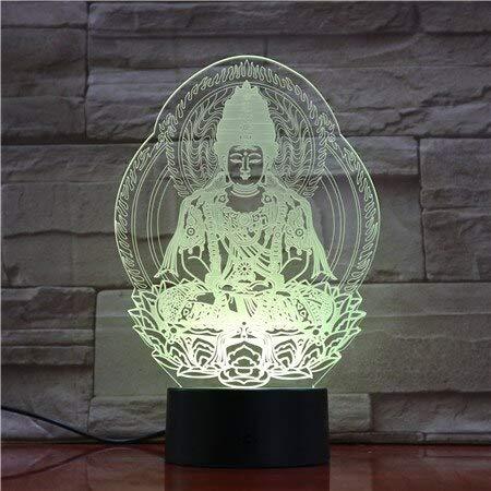 Zhuhuimin Lámpara 3D Color de batería hindú Que Cambia de Color con Control Remoto para decoración navideña luz Nocturna para niños Lindo Premio