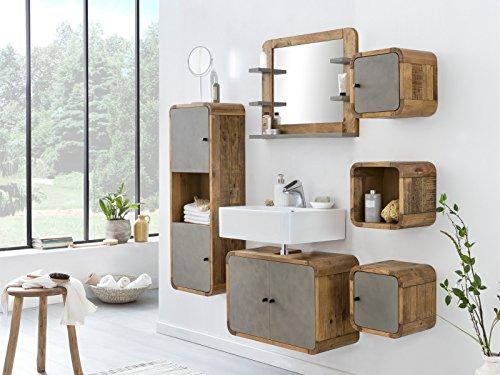 Woodkings® Badmöbel Set Dingle Holz Pinie rustikal und Betonoptik grau Badmöbel hängend für kleines Bad mit Hochschrank Regale Waschbeckenunterschrank und Spiegel