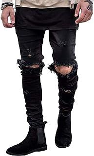 Hungson Men's Stretchy Ripped Skinny Biker Jeans Taped Slim Fit Denim Pants