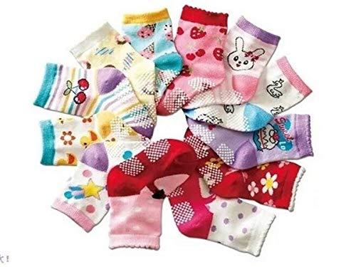 kit 12 pares de meias para crianças 12 a 24 meses meninas anti derrapante aprender a andar