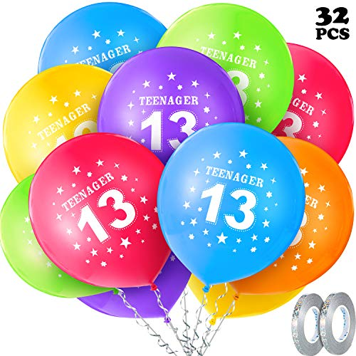 13. Geburtstag Ballon Kit, enthält 30 Stück 12 Zoll Teenager Geburtstag Ballons Nummer 13 Luftballon Runde Latex Stern Ballons mit 2 Rollen Glitzer Silber Graue Bänder für 13. Geburtstag Dekoration