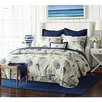 Dynabit Nautical Queen Quilt Set Reversible Bedspread 2 Pillowcases, Cotton Comfy Navy Blue Coverlet Set