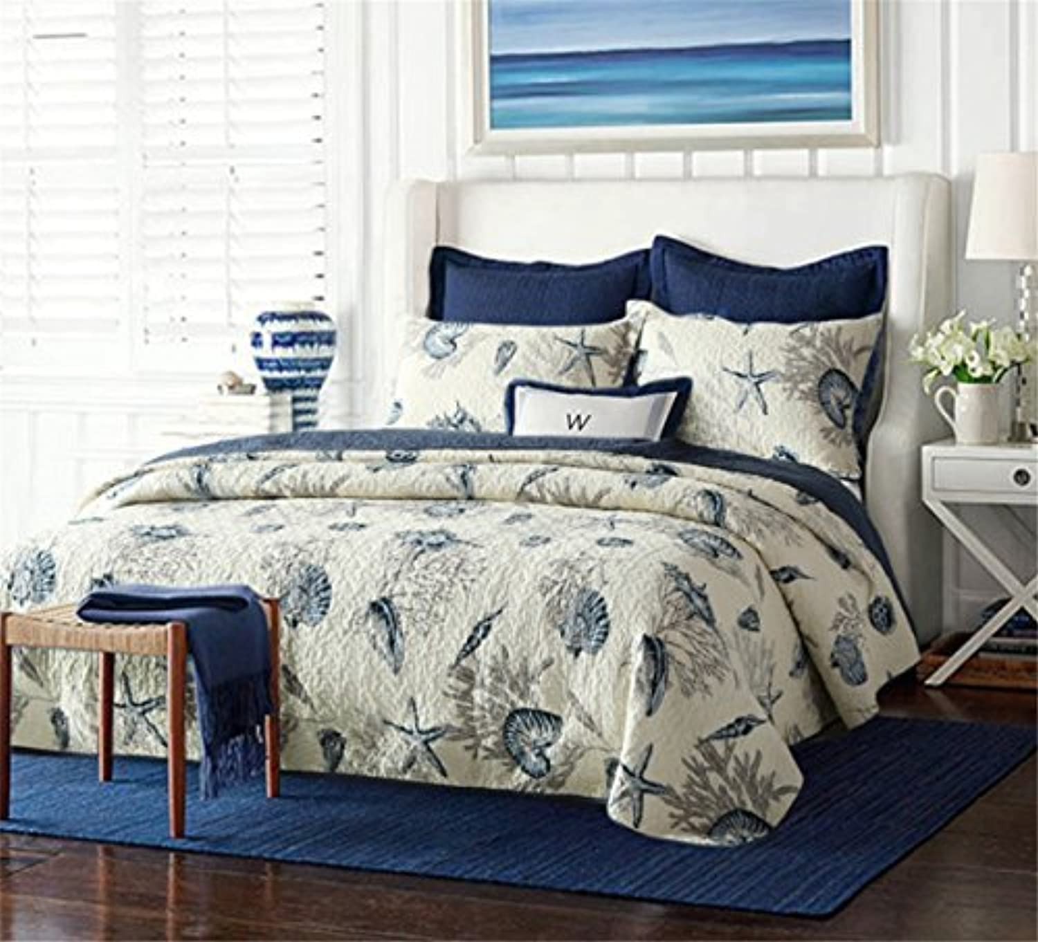 Nautical Queen Quilt Set 1 Reversible Bedspread and 2 Pillowcases,100% Cotton Comfy Navy bluee Coverlet Set,Lightweight and Hypoallergenic