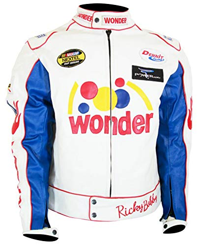 Spazeup White Patches Leather Jacket - White Racing Leather Jacket for Men - Biker Leather Jacket
