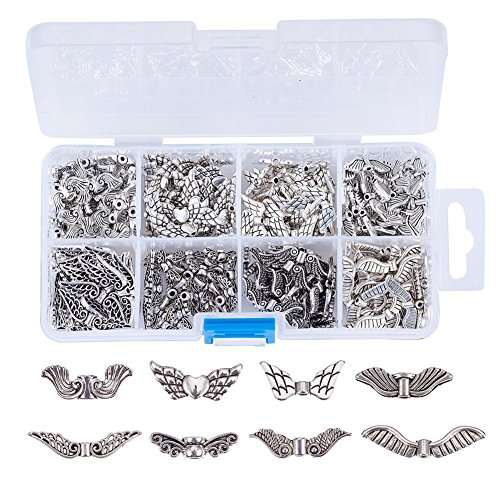 Pandahall 240pcs Antique Silver Wing Alloy Pendants Charms Tibetan Style Loose Beads Spacers for DIY Angel Jewelry Making