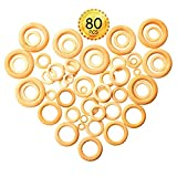 MotBach 80 Pcs 8 Sizes Natural Wood Rings Wooden Rings Circle for Ring Pendant and Connectors for DIY Craft, Necklace Making, Jewelry Making