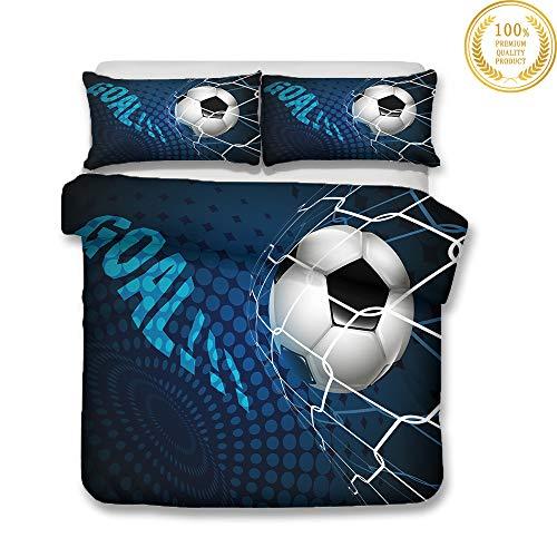 Juego de Ropa de Cama, Morbuy 3D Fútbol Impresión Microfibra Juego de Fundas de Edredón Incluye Funda Nórdica y Funda de Almohada para Familiar y Niños (Cama 90-150x200cm,Red de fútbol)