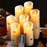 """Flameless Candles with Birch Bark Effect Battery Operated Candles 5'5'6'6""""7'8'9"""" Set of 7 Ivory Real Wax Pillar Dancing LED Flames Candles with 10-Key Remote Control and Cycling 24 Hours Time"""