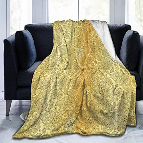 Manta mullida, patrón floreciente con estampado de cachemira, estilo persa y curvado, ultra suave, manta para dormitorio, cama, TV, manta para cama de 80 x 60 pulgadas