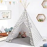Tipi Enfant- Grande Maison de Jeu Pliable Solides intérieure extérieure- 100% Toile en Coton Tente de Jeu pour Enfants (Gris Chevron)