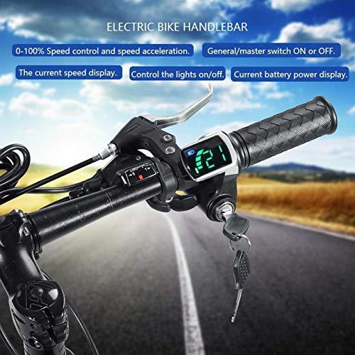 CHICIRIS Manillar de Velocidad, 24 V 36 V, 48 V Manillar con Pantalla de Potencia para Bicicleta Bicicleta para reparador(36V)