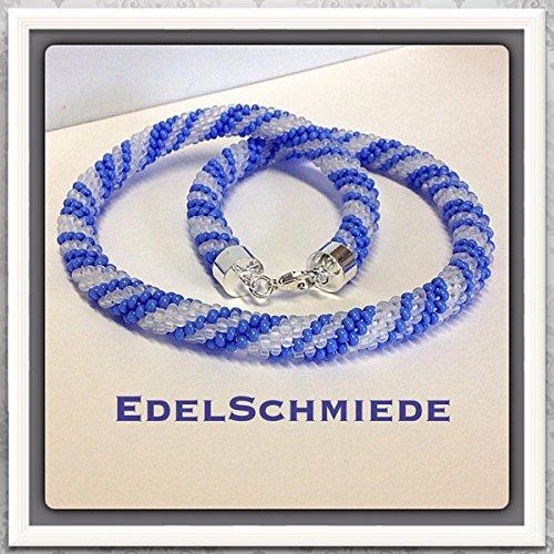 Häkelkette mit 925/- Sterling Silber Verschluß weiß-matt mit blau 43 cm
