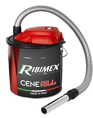 RIBIMEX PRCEN001, Cenerill Aspiracenere elettrico 1000 W, 18 L filtro intercambiabile con leva di riarmo