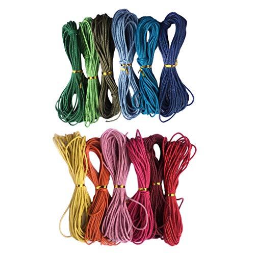 F Fityle 12 Colores 12mmx10m Cuerda Hilo de Algodón Encerado Cordón para...