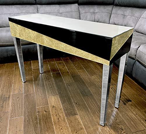 Comfortzone Home Furnishers Konsolentisch, verspiegelt, 80 x 120 x 40 cm, Schwarz/goldfarben