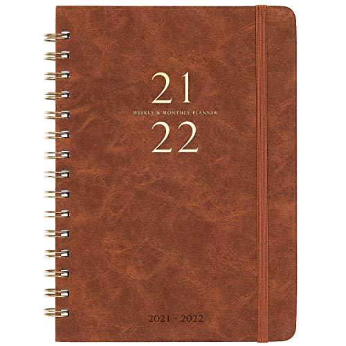 """2021-2022 Planner - Weekly & Monthly Planner with Monthly Tabs, July 2021-June 2022, 6.3"""" x 8.4"""", Smooth Faux Leather & Flexible Cover with White Paper, Wirebound, Brown"""