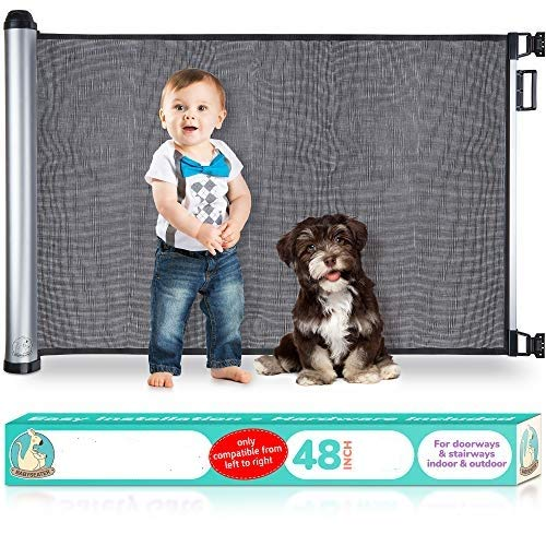 2019 New Retractable Baby Gate - Extra Wide Baby Safety Gate and Pet Gate for Stairs, Doors, and More - Mesh Baby Gate with Easy Latch and Flexible Design Fits Most Spaces [Black]