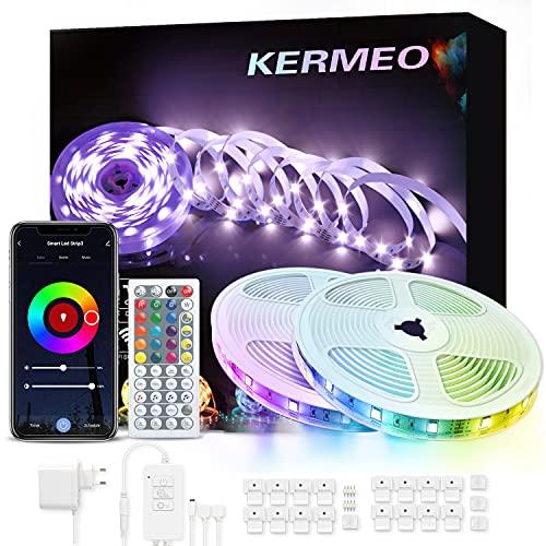 KERMEO Ruban LED 10m,WIFI Bluetooth, Bande LED RGB 5050...
