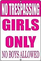 おかしい立ち入り禁止の女の子のみ金属製の壁の装飾バー娘ピンク男の子は許可されていない寝室のドア レトロな家の壁の装飾錫金属ギフト装飾ヴィンテージプラーク