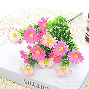 Silk Flower Arrangements LUOHUO Silk Flower Birthday Gift Shrubs, Artificial Flower Artificial Daisy, Fake Colorful Daisy Plant UV Resistant Greenery Shrubs Plants(Rose Pink)