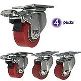 4 Industrierollen 40mm / 50mm Schwerlastrollen 1000kg Leise PU Platte Lenkrollen mit Bremse Stahlbügel für Werks transport Straßenbahn Werkbank (1.5'' 2 zoll)