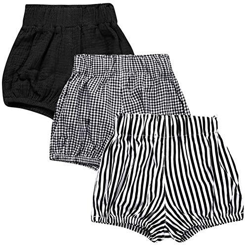 LOOLY Unisex Baby Girls Boys 3 Pack Cotton Linen Blend Bloomer Shorts (80 (9-12Month), Black, Grid, Stripe)