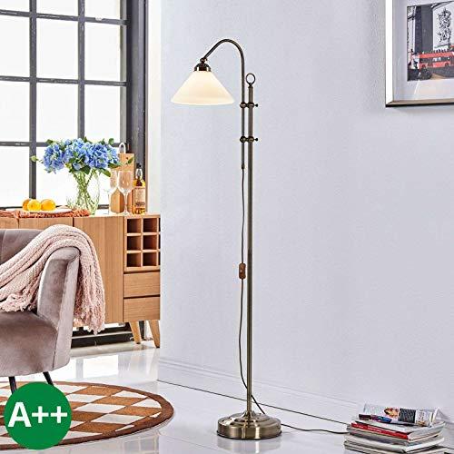 Lampenwelt Stehlampe 'Otis' (Retro, Vintage, Antik) in Weiß aus Glas u.a. für Flur & Treppenhaus...