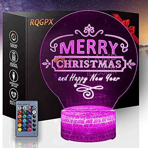 Lámpara 3D de Ilusión Óptica de Feliz Navidad Luz de Noche de los Niños 16 Colores Cambio Gradual Interruptor Táctil USB Lámpara de Mesa para Regalos de Vacaciones o Decoración del Hogar