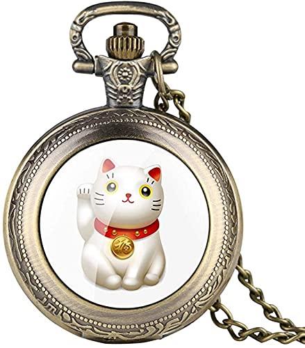AMAFS Reloj de Bolsillo de Bronce de Cadena Fina para Hombres Reloj de Bolsillo de Cuarzo con patrón de Gato y Dinero para Estudiantes Relojes de Bolsillo Digitales árabes para Adolescentes