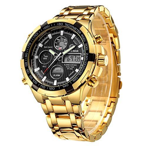 Reloj digital y analógico deportivo de acero inoxidable dorado, con cronógrafo, fecha y alarma, multifunción, resistente al agua, moderno y lujoso, para hombre