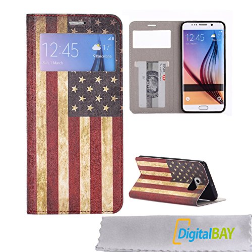 Digital Bay Srl Custodia Cover Portafogli Wallet Bandiera USA con Vista Call ID Supporto e Card Slot per Samsung Galaxy S6 Edge + Plus G928