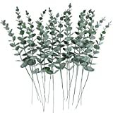 CEWOR 24pcs Artificial Eucalyptus Leaves Stems Real Grey Green Touch Branches for Home Office Centerpiece Wedding Banquet Flower Arrangement Decoration