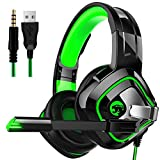 Red tide PS4 Gaming Casque Audio, Baladeur 4D RGB Marquee Écouteurs avec Microphone Casque pour Nintendo Switch, Xbox One & PC Hot,Vert