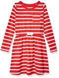 Amazon Essentials Girl's Long-Sleeve Elastic Waist T-Shirt Dress, Red Stripe, Medium