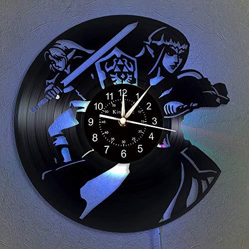 Cheemy Joint The Legend of Zelda Clock Reloj de Pared con Registro de Vinilo Reloj de Pared LED de 12 Pulgadas | Regalos creativos para niños y Amigos | Reloj de Pared Luminoso de 7 Colores.