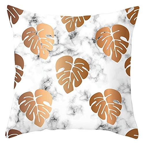 AtHomeShop 40 x 40 cm, funda de cojín en poliéster con hojas de mármol estampado, suave, cómoda, cuadrada, para sofá, dormitorio, oficina, sin relleno, color blanco y marrón, estilo 24