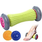 Foot Massage Roller and 2 Spiked Balls For Relieving Pplantar Fasciitis and Foot Massager, Back, Arm, Neck, Shoulder, Leg Loop Loller -Spike Massager