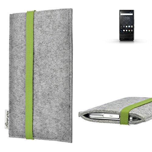 flat.design Handy Hülle Coimbra kompatibel mit BlackBerry KEYone Black Edition maßgefertigte Handytasche Filz Tasche fair grün hellgrau