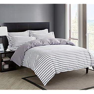 Microfiber Duvet Cover Set,Striped Duvet Cover,Contrast 2 Tone Reversible Design,Zipper Closure,Queen Grey 90 by 90 inch