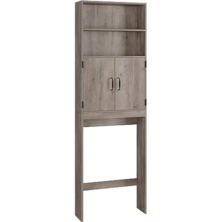Meuble WC, Meuble de Rangement pour Toilettes, Meuble Dessus Machine à Laver, avec 2 Portes et 2 Étagères, Gris, 63x20x195 cm