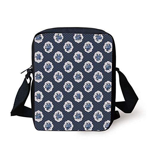 FAFANIQ Shabby Chic Decor,Feminine Pattern Curvy Frames Motifs with English Roses Polka Dots Decorative,Dark Blue White Print Kids Crossbody Messenger Bag Purse