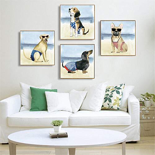 YDGG Bikini Dog Poster druk op muur dier schilderij op canvas Sea Beach Kids Room Decor Pictures Living-40 x 40 cm x 4 delen zonder lijst
